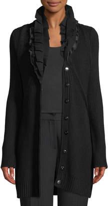 Elie Tahari Elijah Button-Front Ruffled-Collar Merino Wool Sweater