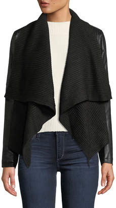 Bagatelle Knit Drape Faux-Leather Cropped Jacket
