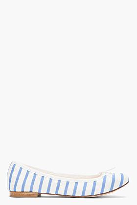 Repetto Powder blue and white striped Cendrillon flats