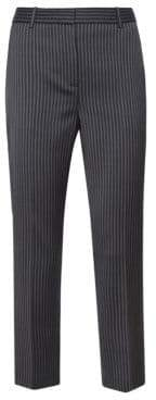 Theory Women's Virgin Wool Stripe Tailored Trousers - Black - Size 00