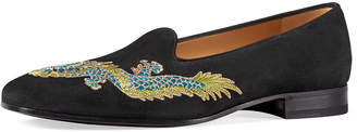Suede Loafer with Dragon Embroidery