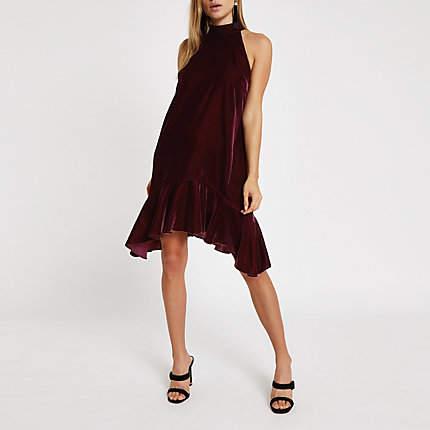 Womens Red velvet halter neck frill swing dress
