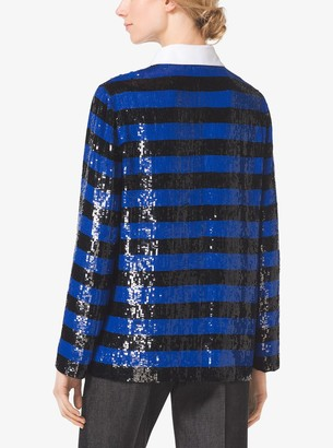 Michael Kors Sequined Silk-Georgette Rugby Top