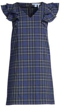 Draper James Women's Plaid Ruffle Shoulder Shift Dress - Nassau Navy - Size 0