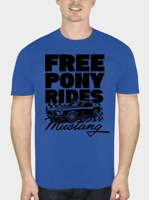 Automotive Ford Mustang Free Pony Rides Men's Royal Blue Graphic T-Shirt, up to Size 5XL