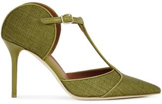Malone Souliers Imogen 85 Olive Raffia And Leather Mules