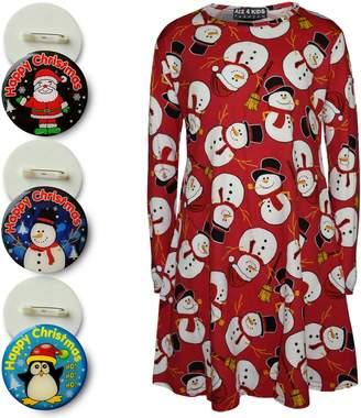 Original Penguin a2z4kids Kids Girls Christmas Dress Santa Snowman Print Xmas Dresses Leggings