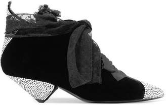 Saint Laurent Blaze Crystal-embellished Lace-trimmed Velvet Ankle Boots - Black