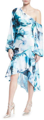Theia One-Shoulder Hi-Low Tie-Dye Dress w/ Blouson-Sleeves