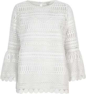 River Island Womens White lace bell sleeve tunic top