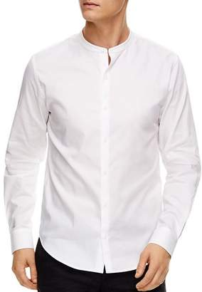 Sandro Oxford Banded-Collar Slim Fit Button-Down Shirt