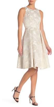 Eliza J Embroidered Metallic Sleeveless Dress