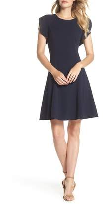 Vince Camuto Cap Sleeve Scuba Crepe Fit & Flare Dress