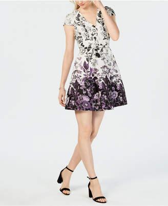 Vince Camuto Belted Floral Jacquard Fit & Flare Dress