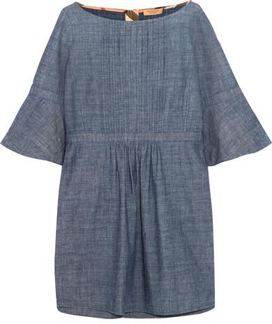 Burberry Burberry - Pintucked Cotton-chambray Mini Dress - Mid denim
