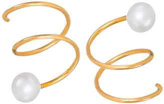 Dutch Basics - Gold Plated Silver Twirl Earrings With Pearl
