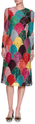 Dolce & Gabbana Long-Sleeve Patchwork Corded Lace Dress, Multicolor $5,195 thestylecure.com