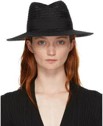 Maison Michel Black Straw Virginie Fedora