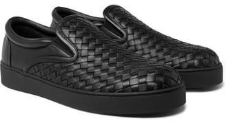Bottega Veneta Dodger Intrecciato Leather Slip-On Sneakers - Men - Black