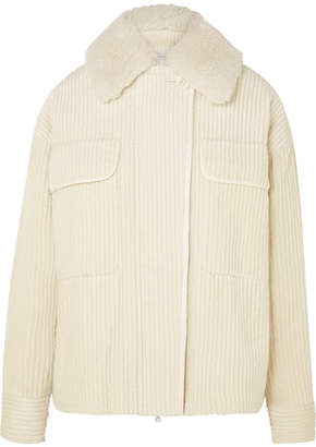 Victoria Beckham Victoria, Shearling-trimmed Cotton-corduroy Jacket - Ivory