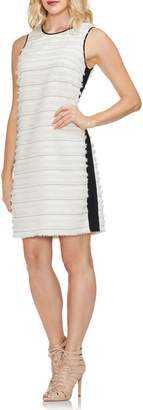 Vince Camuto Clipped Stripe Mixed Media Dress