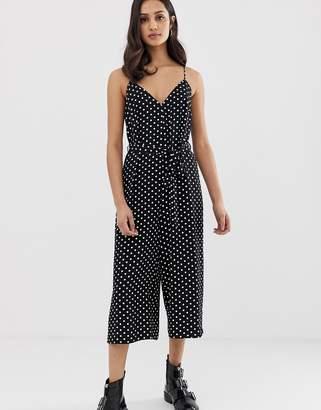 2b87670599d Miss Selfridge slip jumpsuit in polka dot