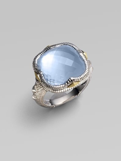 Judith Ripka Blue Quartz, Mother-of-Pearl, Sterling Silver & 18K Yellow Gold Ring