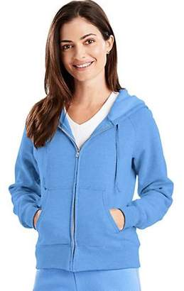 Hanes W280 Ecosmart Cotton-Rich Full-Zip Hoodie Women Sweatshirt Size Large, White