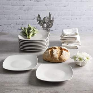 Gibson Home Everyday Square White 10.75-Inch Dinner Plate, Set of 10