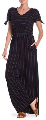 THREADS AND STATES Striped Tie Sleeve Jumpsuit