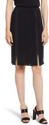 Ming Wang Studded Knit Skirt