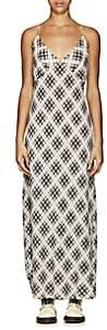 Marc Jacobs Women's Plaid Washed Silk Long Slipdress - White Pat.