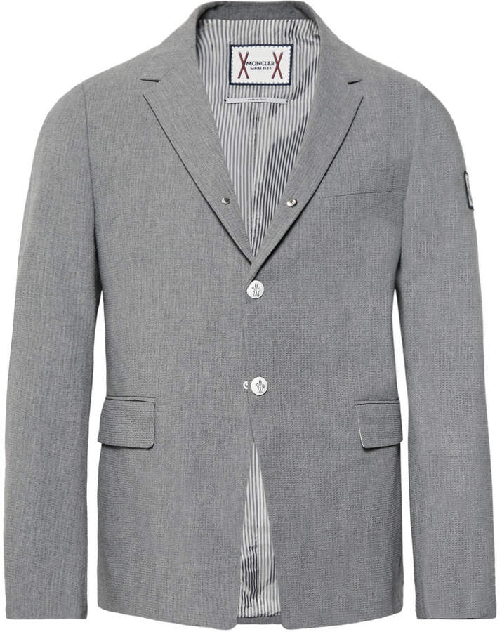 Grey Slim-Fit Cotton-Seersucker Blazer