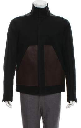 Rick Owens Leather-Trimmed Wool Jacket