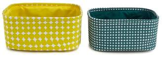 Debenhams 2 Pack Yellow And Green Patterned Storage Baskets