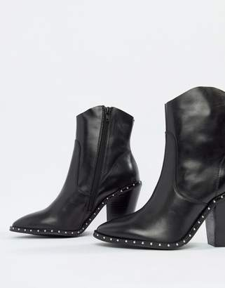 Bronx heeled leather western boots