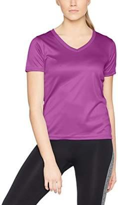 James & Nicholson Women's Ladies' Active-V T-Shirt, Blau Navy