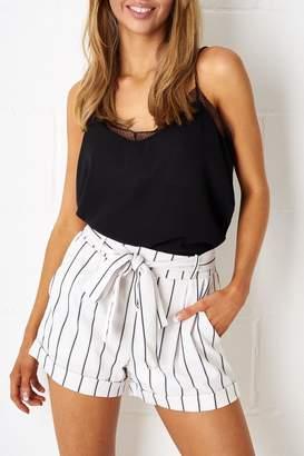 frontrow White Pinstripe Shorts