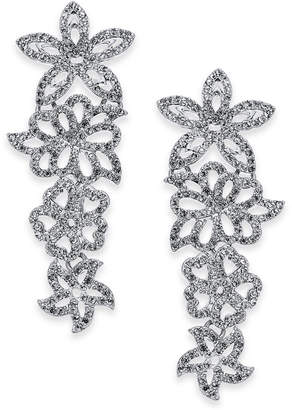 INC International Concepts I.n.c. Woman Silver-Tone Pave Flower Statement Earrings
