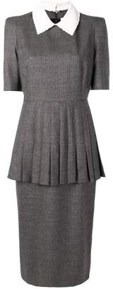 Fendi micro check pleated dress