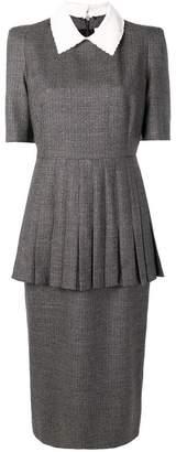 Fendi micro check pleated dress
