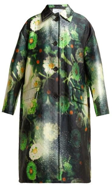 Single Breasted Duchess Satin Coat - Womens - Green Multi
