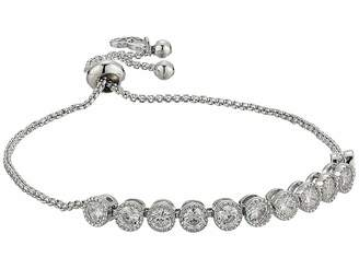 Betsey Johnson Blue by Chain Bracelet with Cubic Zirconia Stones and Adjustable Slider
