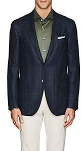 Isaia MEN'S SANITA CHECKED WOOL-BLEND TWO-BUTTON SPORTCOAT-NAVY SIZE 44 R