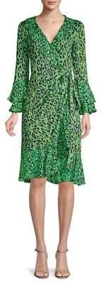 Diane von Furstenberg Silk Leopard Print Ruffle Wrap Dress