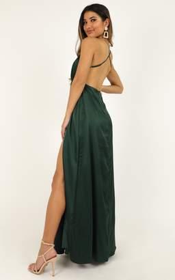 Showpo Wild Instinct Maxi dress in emerald satin - 4 (XXS) Dresses