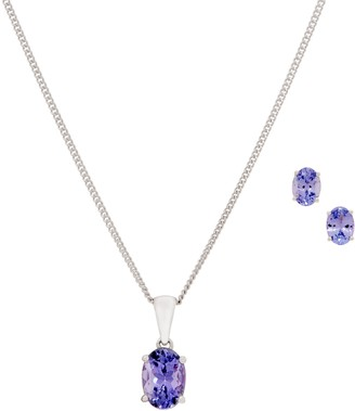 Tanzanite Stud Earring and Pendant with Chain, Sterling Silver