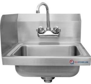 EQ Kitchen Line 1 Compartment Commercial Wall Mount Kitchen Sink Stainless Steel