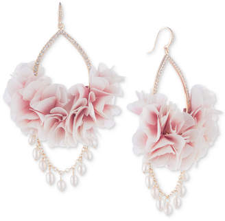 Carolee Gold-Tone Pave & Imitation Pearl Pink Fabric Flower Drop Earrings