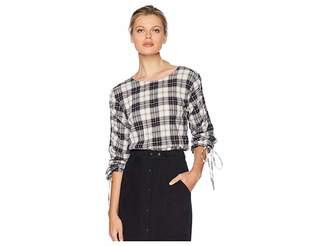 Vince Camuto Long Sleeve Drawstring Tartan Plaid Blouse Women's Blouse